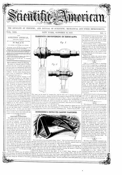 Scientific American - Oct 10, 1857 (vol. 13, #5)