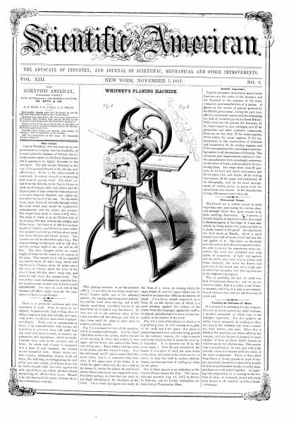 Scientific American - Nov 7, 1857 (vol. 13, #9)