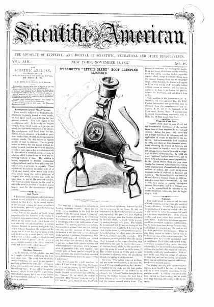 Scientific American - Nov 14, 1857 (vol. 13, #10)