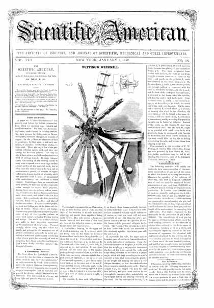 Scientific American - Jan 9, 1858 (vol. 13, #18)