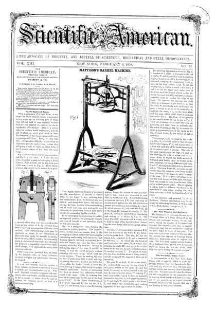 Scientific American - Feb 6, 1858 (vol. 13, #22)