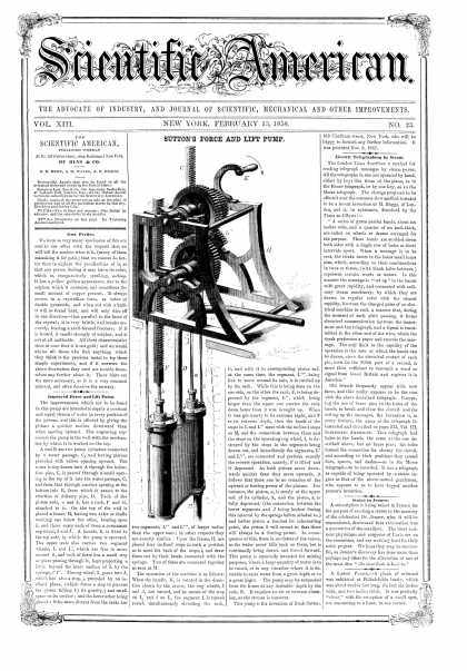Scientific American - Feb 13, 1858 (vol. 13, #23)