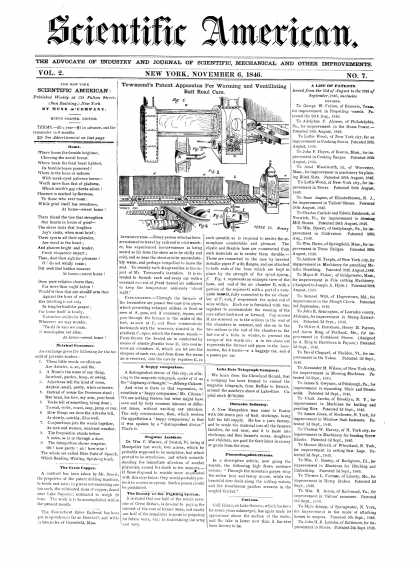 Scientific American - November 6, 1846 (vol. 2, #7)