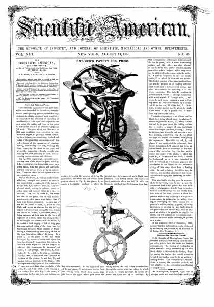 Scientific American - Aug 14, 1858 (vol. 13, #49)