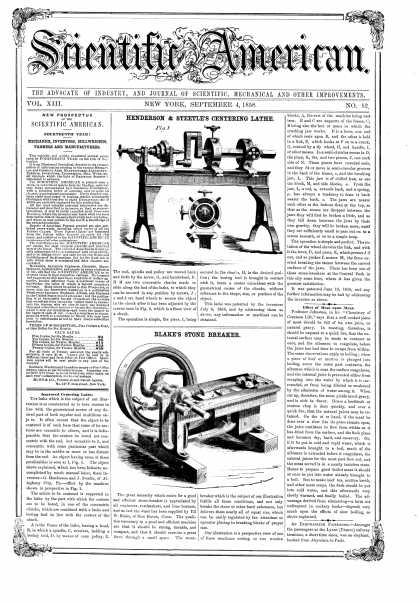 Scientific American - Sept 4, 1858 (vol. 13, #52)
