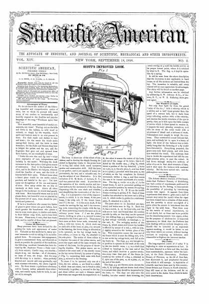 Scientific American - Sept 18, 1858 (vol. 14, #2)