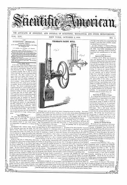 Scientific American - Oct 2, 1858 (vol. 14, #4)