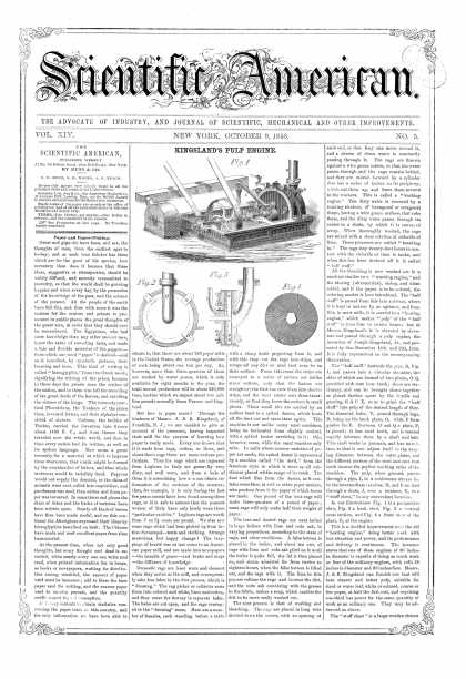 Scientific American - Oct 9, 1858 (vol. 14, #5)