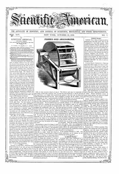 Scientific American - Oct 23, 1858 (vol. 14, #7)