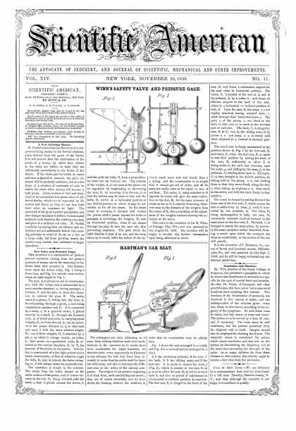 Scientific American - Nov 20, 1858 (vol. 14, #11)