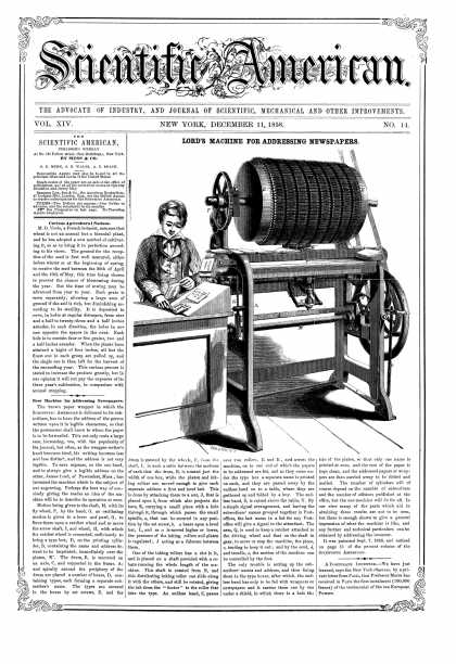 Scientific American - Dec 11, 1858 (vol. 14, #14)