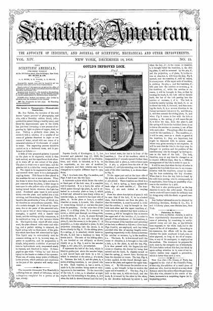 Scientific American - Dec 18, 1858 (vol. 14, #15)