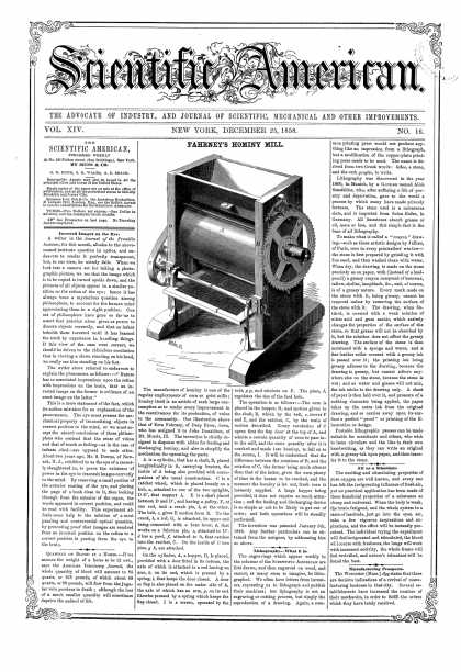 Scientific American - Dec 25, 1858 (vol. 14, #16)