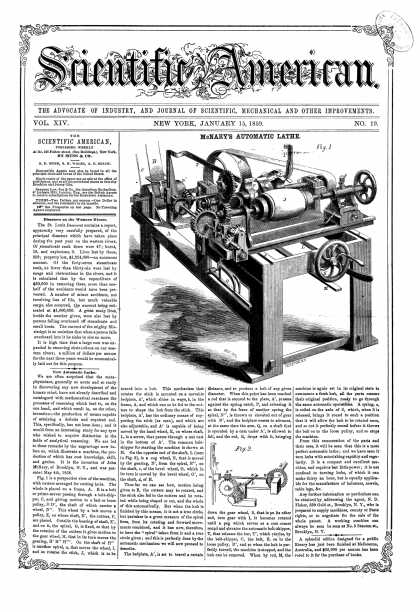 Scientific American - Jan 15, 1859 (vol. 14, #19)