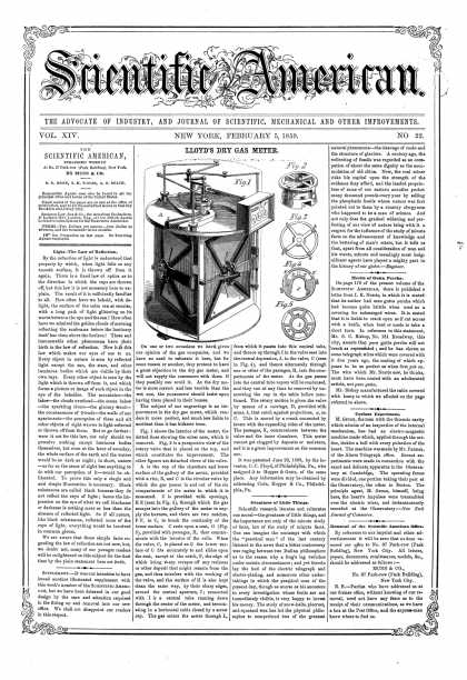 Scientific American - Feb 5, 1859 (vol. 14, #22)