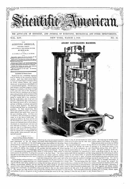 Scientific American - Mar 5, 1859 (vol. 14, #26)