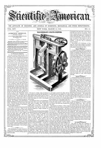 Scientific American - Mar 12, 1859 (vol. 14, #27)