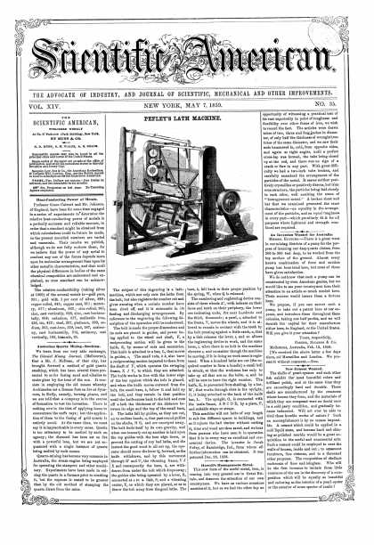 Scientific American - May 7, 1859 (vol. 14, #35)