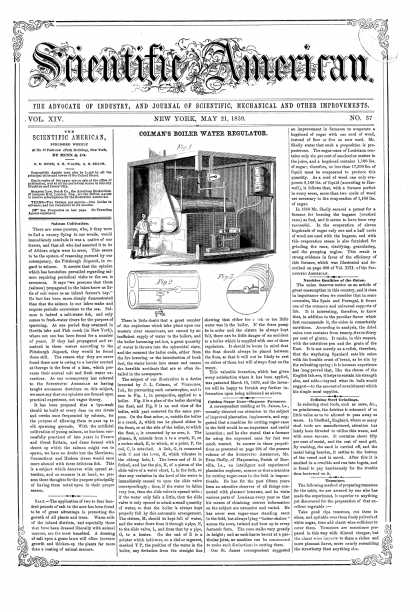 Scientific American - May 21, 1859 (vol. 14, #37)