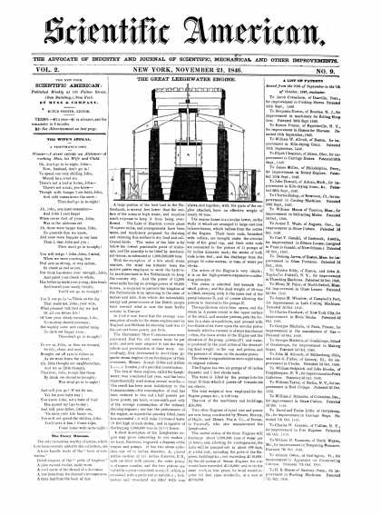 Scientific American - November 21, 1846 (vol. 2, #9)