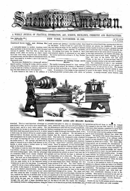 Scientific American - Nov 25, 1865 (vol. 13, #22)