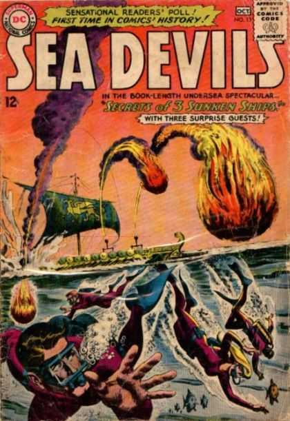 Sea Devils 13 - Sensational Readers Poll - First Time In Comics History - Secrets Of 3 Sunken Ships - Ocean - Fire Balls - Jack Adler