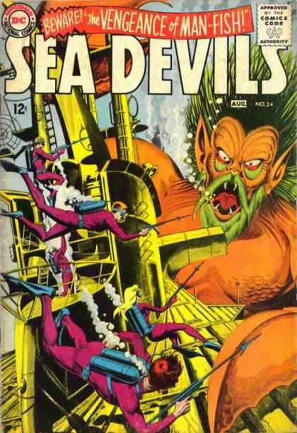 Sea Devils 24 - Man-fish - Beware - Aug No24 - Scuba Divers - Spear