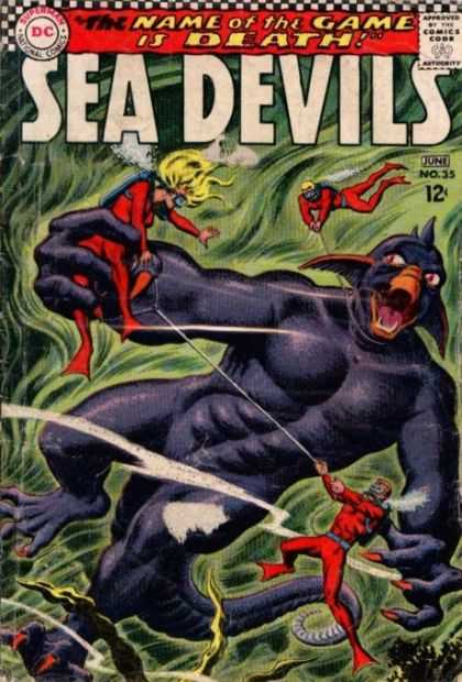 Sea Devils 35 - Comics Code - The Name Of The Game Is Death - Battle - Aqualangs - Monster - Carmine Infantino, Jack Adler