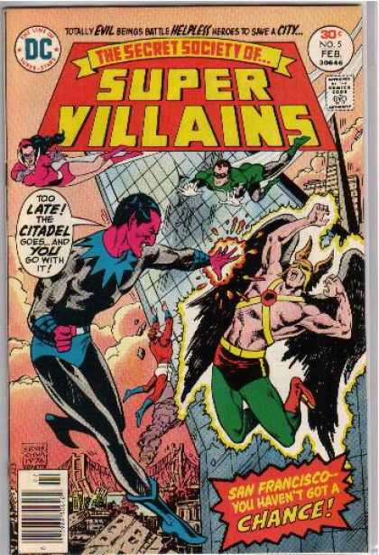 Secret Society of Super-Villains 5 - San Franciscoyou Havent Got A Chance - Totally Evil Beings Battle Helpless Heroes To Save A City - Fire - Building - Wings - Ernie Chan