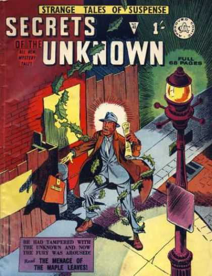Secrets of the Unknown 43 - Strange Tales Of Suspense - Menace Of The Maple Leaves - Street Lamp - Brown Overcoat - Orange Bag