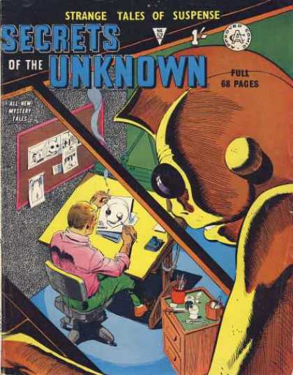 Secrets of the Unknown 52 - Strange Tales Of Suspense - Artist - Drawing - Man - Office Chair