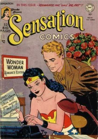 Sensation Comics 97 - Wonder Woman - Romance - Flowers - Date - Romance Editor