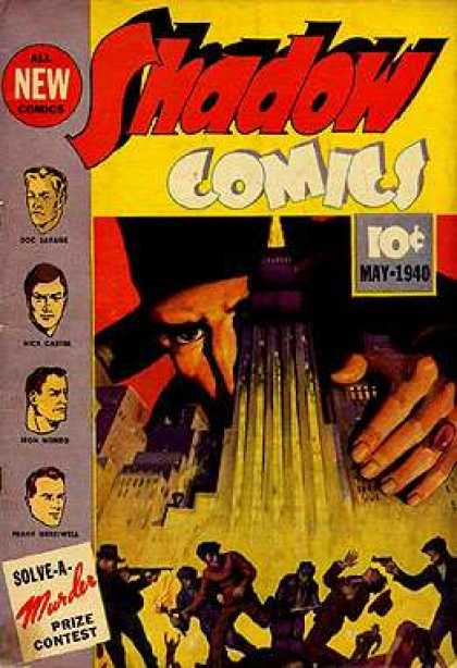 Shadow Comics 3 - Solve A Murder Prize Contest - May 1940 - New - Shooting - Running