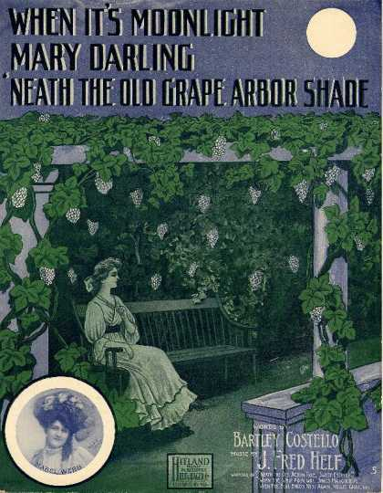 Sheet Music - When it's moonlight Mary darling 'neath the old grape arbor shade
