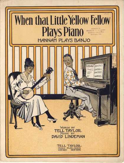 Sheet Music - When that little yellow fello plays piano, Hannah playsbanjo
