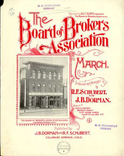 Sheet Music - The Board of Brokers Association march