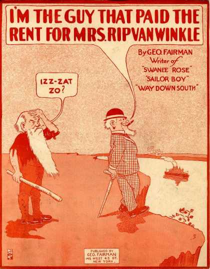 Sheet Music - I'm the guy that paid the rent for Mrs. Rip Van Winkle