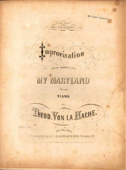 Sheet Music - Improvisation on the favorite air My Maryland; Op. 546 d