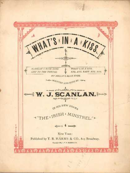 Sheet Music - What's in a kiss; Irish minstrel