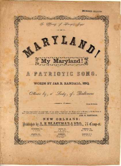 Sheet Music - Maryland! my Maryland! a patriotic song