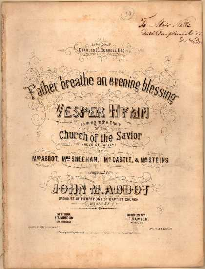Sheet Music - Father breathe an evening blessing; Vesper hymn