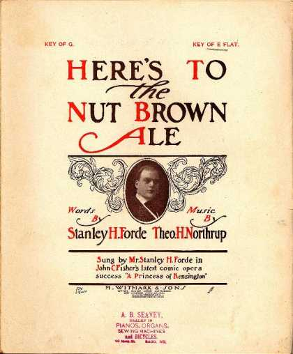 Sheet Music - Here's to the nut brown ale; A princess of Kensington