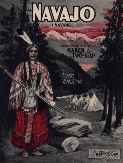 Sheet Music - Navajo; Navaho; Indian characteristic march & two-step