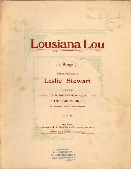 Sheet Music - Lousiana Lou; Shop girl