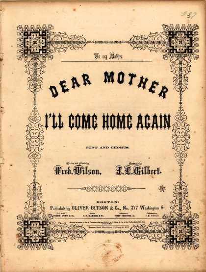Sheet Music - Dear Mother, I'll come home again