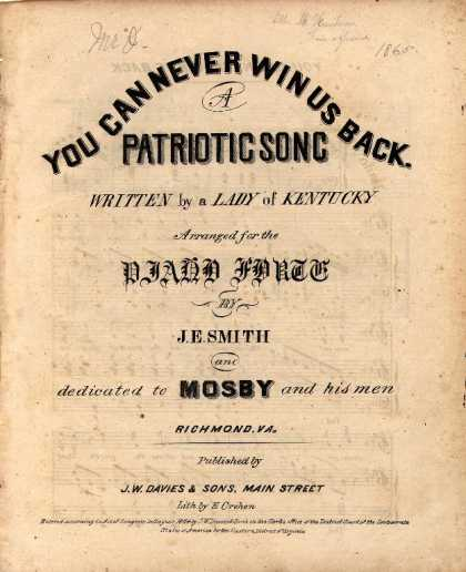 Sheet Music - You can never win us back; A patriotic song