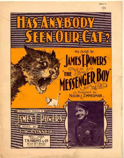 Sheet Music - Has anybody seen our cat?; Messenger boy