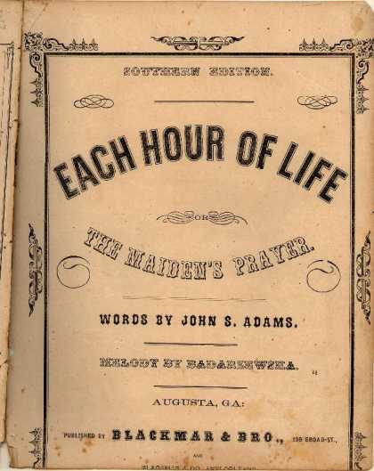 Sheet Music - Each hour of life; The maiden's prayer