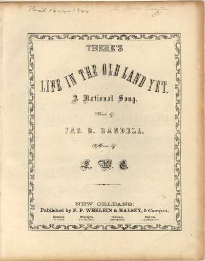 Sheet Music - There's life in the old land yet; National song