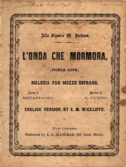 Sheet Music - L'Onda che mormora; Fickle love